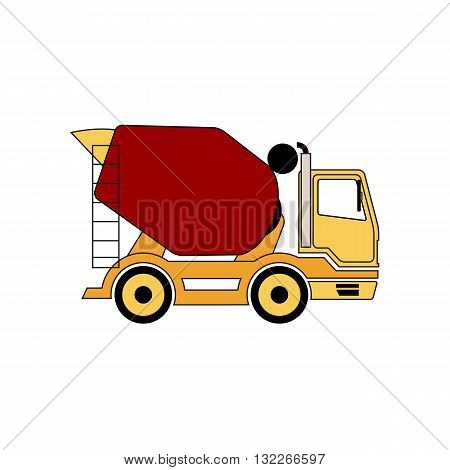 Cement mixer truck vector illustration isolated on white background