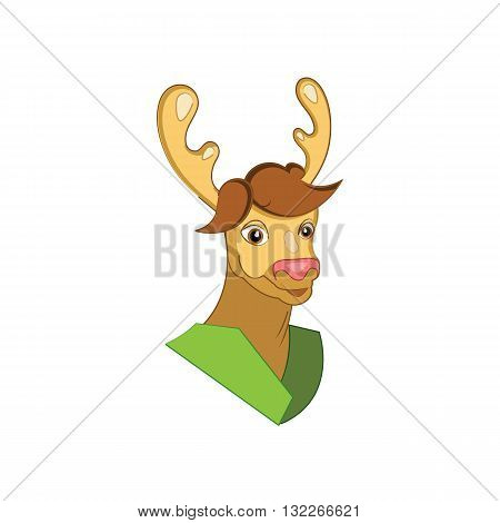Cute cartoon style deer mascot vector illustration isolated on white background.