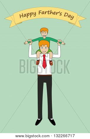 vector illustration of father carrying son on shoulders. father's day concepts. eps 10