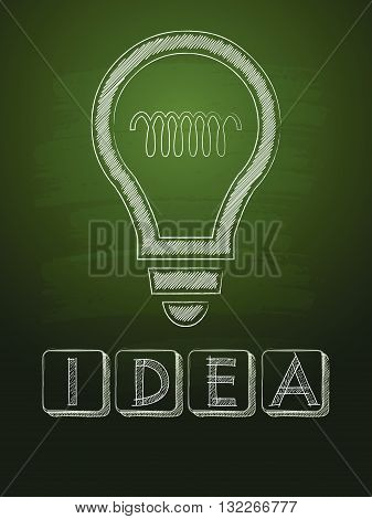 idea and light bulb sign - white chalk text with symbol over green blackboard, business creative concept, vector
