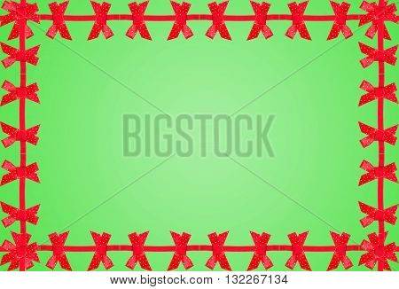 Elegant Green Background With Red Bow.
