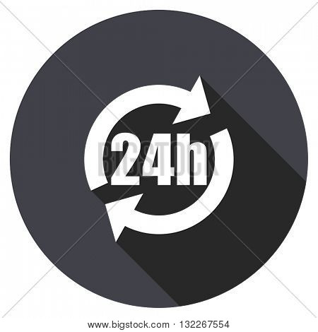 24h vector icon, round flat design button, web and mobile app illustration