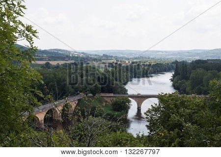 Bridges cross the waters of France's Dordogne River