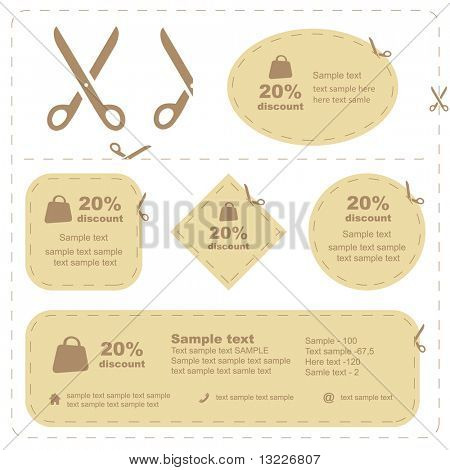 Vector scissors with cut lines templates to choose from