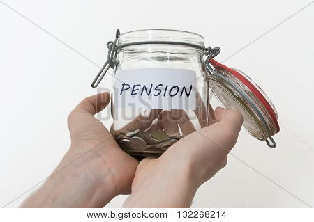 Hands Holds Jar With Pension Savings. Isolated On White Backgrou