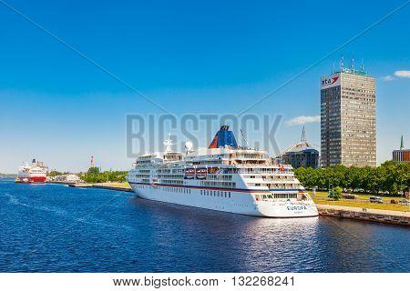 Riga, Latvia - 24-may-2016: Modern Ferry Ship