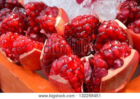 Pomegranate on ice, Fresh Pomegranate (Punica granatum)