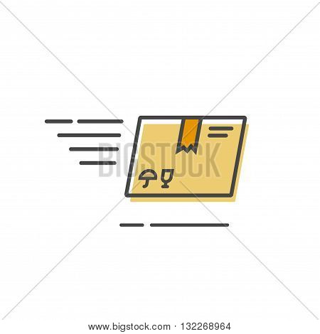Fast delivery box vector icon isolated on white, flat parcel delivery logo, outline line style delivery service icon