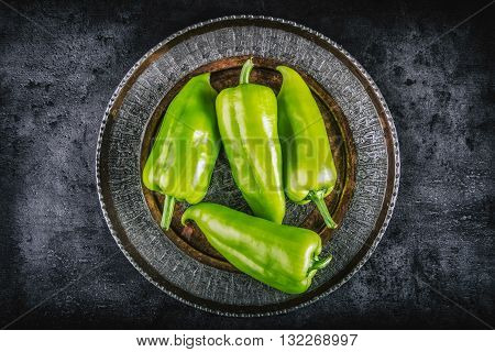 Pepper. Green peppers. fresh green peppers on plate. Cut fresh pepper. Healthy fresh vegetable.