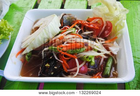 Papaya salad, Thai food name Som Tum in form box