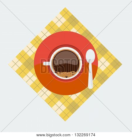 Cup top view. Cup and sauser with coffee and coffee bubbles top view on napkin with flat color style design. Concept of breakfast coffee break.
