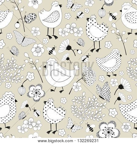 Seamless floral pattern with chicken cartoon in vector