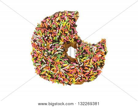 bitten chocolate donut with sprinkles isolated on a white background