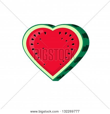 Watermelon slice vector icon isolated on white background, flat watermelon sliced in heart shape illustration, cartoon design