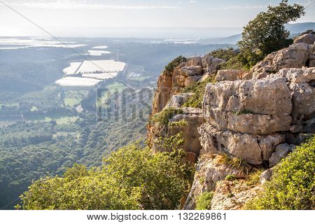Mountain landscape view of the mountainous area of Upper Galilee Israel