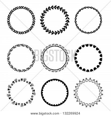Round black and white border frame with doodle flowers. Can be used for decoration and design photo frame menu card scrapbook album. Vector Illustration