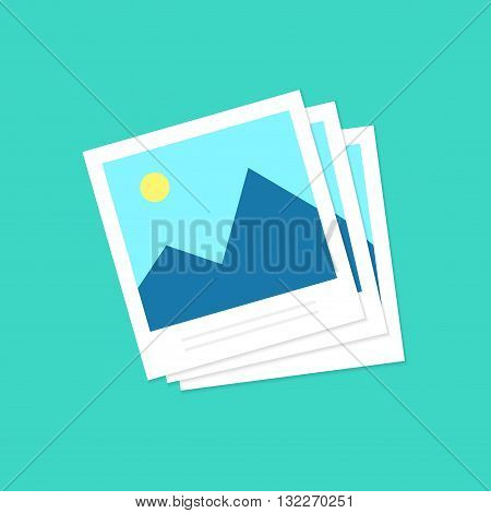 Photo icons, photo frames vector illustration, photoframe, retro photos flat icon, vintage blank photo frames design isolated on green background