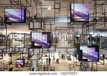 Bangkok Thailand - May 29 2016: Background of see through decoration hanging on each floor of new renovated shopping mall called 'Siam Discovery' in Bangkok.
