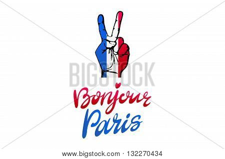 Bonjour Paris Card. Hello Paris Phrase In French. Ink Illustration. Modern Brush Calligraphy. Isolat