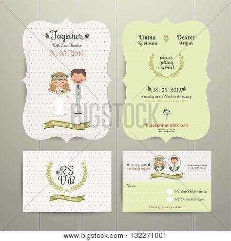Bride & Groom Cartoon Romantic Farm Wedding Invitation Card and RSVP set on wood background