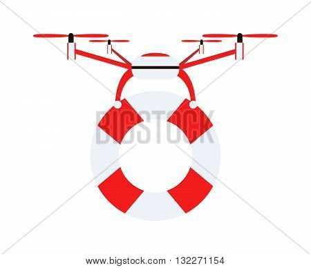 Drone quadrocopters safeguard icons and emblems isolated on white. Vector illustration drone water safeguard helicopter toy design. Lifebuoy security drone helicopter toy. Lifebuoy circle isolated