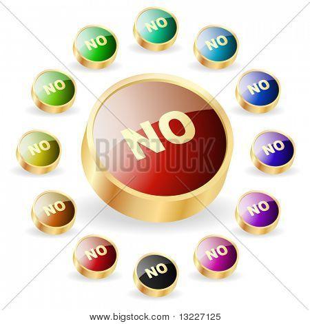 """""""NO"""" button. Vector set."""