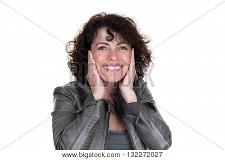 Smiling Woman Checking Her Wrinkles On Her Forehead After Surgery