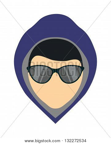 Silhouette of criminal man in hood or criminal man hooligan over dark concrete background. Flat criminal man character and criminal man vector icon. Criminal man hooligan horror mystery boy face.