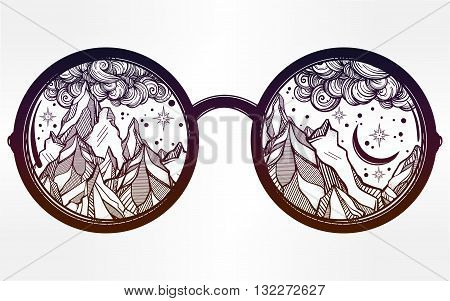 Vector round glasses with mountains in the reflection. Poster design elements. Summer and travel, bohemian or hippie motifs. Isolated Vector illustration.