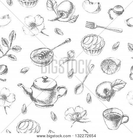 Vector dessert seamless pattern. Hand drawn pencil sketch of tea and dessert. Teapot apple tart tea cup lemon honey and apple.