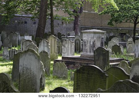 London England - May 19 2016: A view of the Bunhill fields burial grounds in London England.
