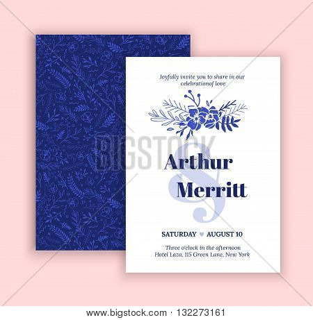 Vector set of invitation with handmade blue elements. Modern Wedding Collection. Green blue hipstre invitation to the feast.