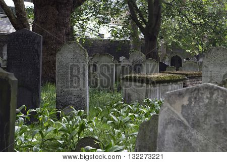 London England - May 19 2016: Bunhill fields burial grounds in London England.