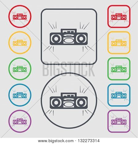 Radio Cassette Player Icon Sign. Symbol On The Round And Square Buttons With Frame. Vector