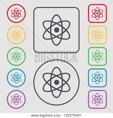 Atom, Physics Icon Sign. Symbol On The Round And Square Buttons With Frame. Vector