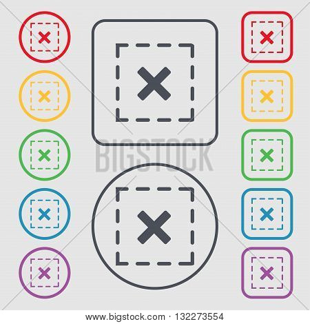 Cross In Square Icon Sign. Symbol On The Round And Square Buttons With Frame. Vector