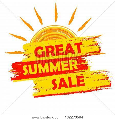 great summer sale banner - text in yellow and orange drawn label with sun symbol, business seasonal shopping concept, vector