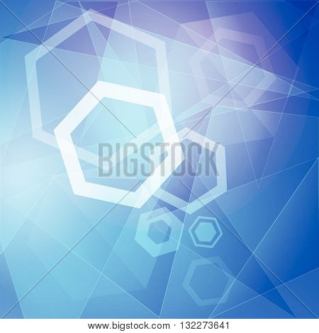 abstract blue background with white hexagons, lines and triangles, vector