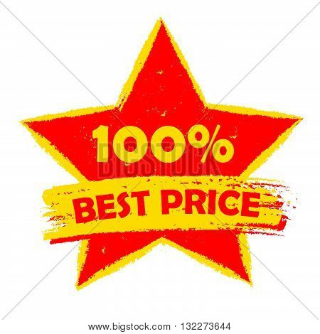 100 percentages best price in star - text in yellow and red drawn label, business shopping concept, vector
