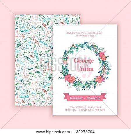 Vector set of invitation with handmade floral elements and beautiful letters. Wedding Collection. Gentle hipster invitation to the feast.