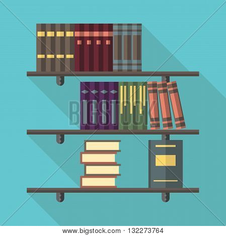 Bookshelves with many multivolume collected works books. Reading literature education bookstore and library concept. EPS 8 vector illustration no transparency