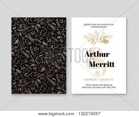 Golden Vector invitation with handmade floral elements. Modern Wedding Collection. Gold a premium invitation to the feast.
