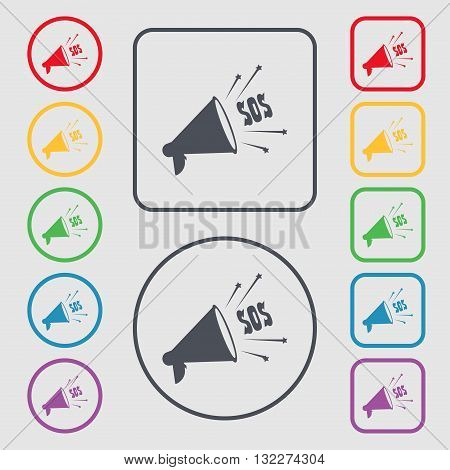 Sos Web Speaker Icon Sign. Symbol On The Round And Square Buttons With Frame. Vector