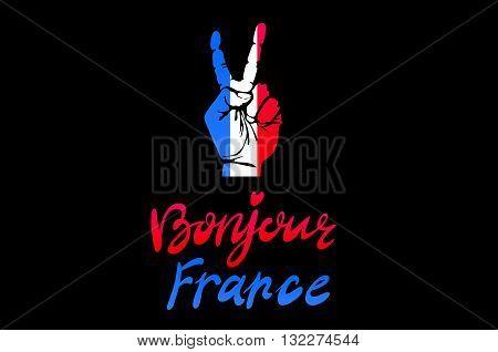 Hand Victory For France Vector Bonjour