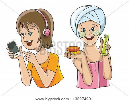 Two female figures in different situations-listening to music and beauty treatments