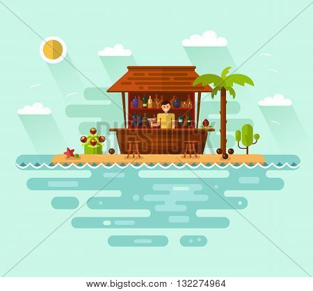 Flat style vector illustration of cocktail bar with smiling barman on tropical beach. Ocean coast, palm, sun, coconut, cocktails, bottles, drinks. Summer vacation on tropical island.