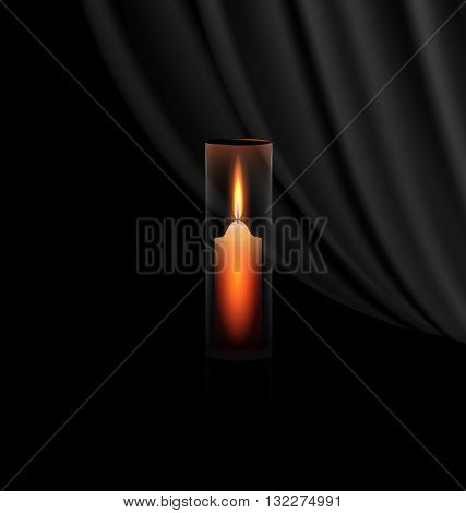 the burning candle in the glass and the black veil