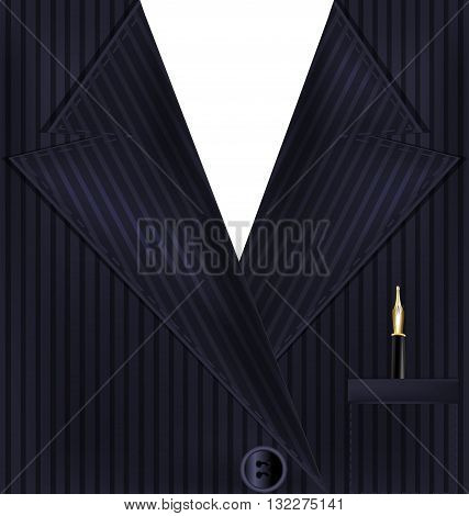 abstract dark male costume with golden pen in the pocket