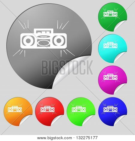 Radio Cassette Player Icon Sign. Set Of Eight Multi Colored Round Buttons, Stickers. Vector