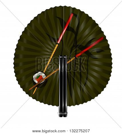 white background and the round green fan with chopstics and sushi